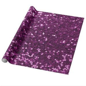 Purple Sparkly Faux Glitter Wrapping Paper
