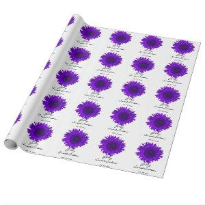 Purple Sunflowers Sweet 16 Birthday Wrapping Paper