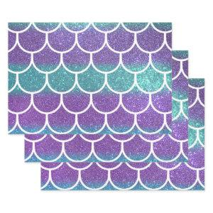Purple Teal Glitter Mermaid Scallop Scales Wrapping Paper Sheets