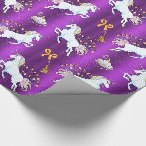 Purple Unicorn Christmas Wrapping Paper