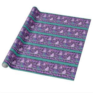 Purple Vintage Metallic Snowman and Trees in Snow Wrapping Paper