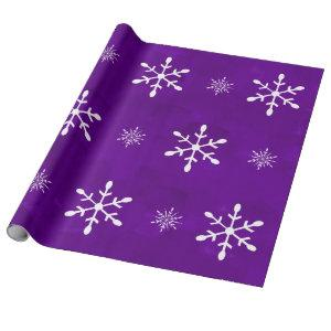 Purple Watercolor and White Snowflakes | Christmas Wrapping Paper