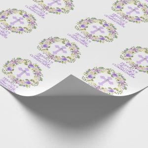 Purple Watercolor Floral Girl First Holy Communion Wrapping Paper