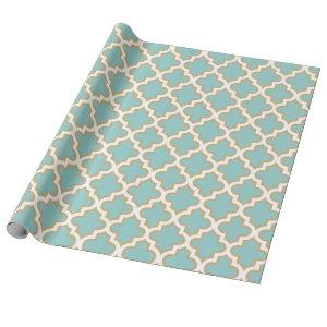 Quatrefoil Moroccan Elegant Gold Teal Blue Pattern Wrapping Paper