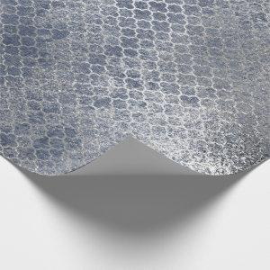 Quatrefoil Silver Glam Blue Distressed Silver Wrapping Paper