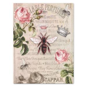 Queen Bee French Perfume Rose Bud Ad Vintage Tissue Paper