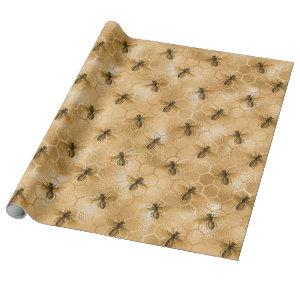 Queen Bees Honey Comb Hexagone Gold Sepia Black Wrapping Paper