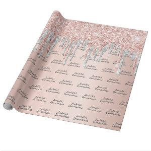 Quinceanera rose gold glitter silver sparkle wrapping paper