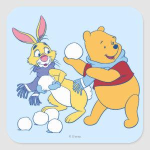 Rabbit and Pooh Square Sticker