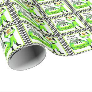 Race Car And Driver Personalized Birthday Gift Wrapping Paper