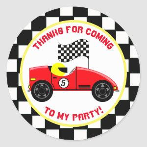 Race Car Personalized Birthday Party Stickers