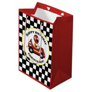 Race Car Theme Birthday Party Personalized Medium Gift Bag