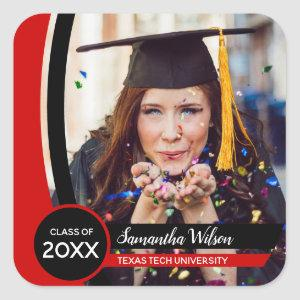 Raider Red Curved Frame Photo Graduation Square Sticker