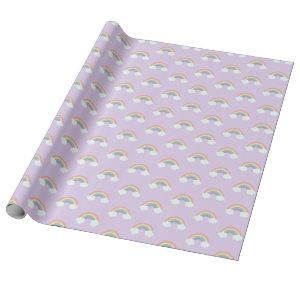 Rainbow and Clouds Pattern Wrapping Paper