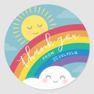 Rainbow Cloud and Sun Thank You Favor Stickers