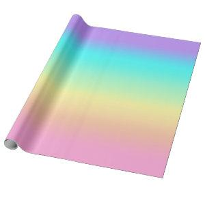 Rainbow Spring Pastels in Gradient Stripes Wrapping Paper