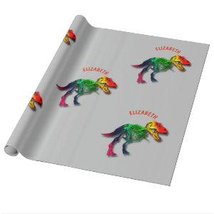 Rainbow T Rex Funny Fossil With Your Name Wrapping Paper