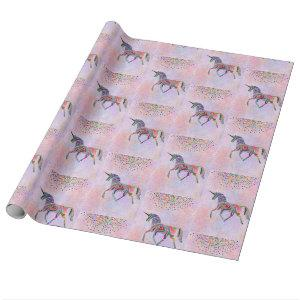 Rainbow Unicorn and Confetti on Pink Birthday Wrapping Paper