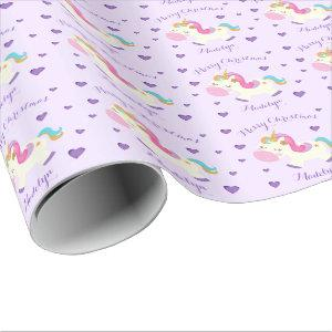 Rainbow Unicorn Purple Personalized Christmas Wrapping Paper