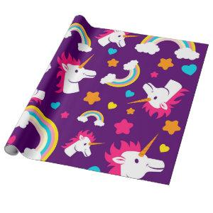 Rainbow Unicorn with stars Wrapping Paper