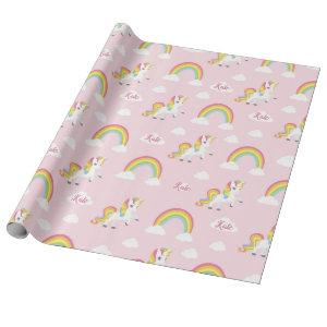 Rainbow Unicorn Wrapping Paper (Personalized) Pink