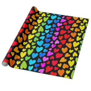 Rainbow Watercolor Hearts Pattern Wrapping Paper