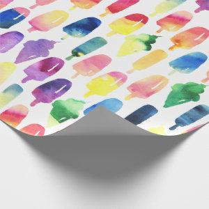 Rainbow Watercolor Ice Cream Cone Popsicles Kids Wrapping Paper