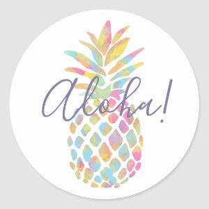 Rainbow Watercolor Pineapple Tropical Personalized Classic Round Sticker