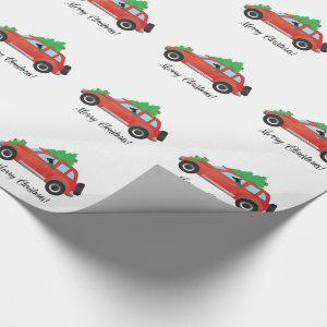 Rat Terrier Dog Driving a Christmas Car Wrapping Paper