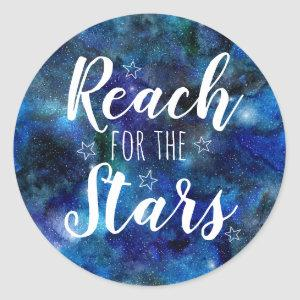 Reach for the Stars Quote Blue Galaxy Stickers