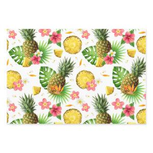 Realistic Summer Tropical Pineapples Pattern Wrapping Paper Sheets
