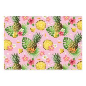 Realistic Summer Tropical Pineapples Pink Pattern Wrapping Paper Sheets