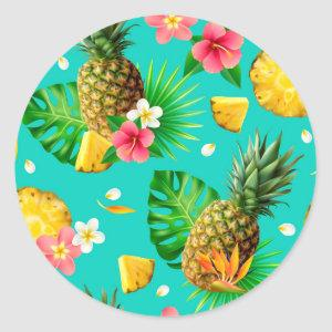 Realistic Summer Tropical Pineapples Teal Pattern Classic Round Sticker