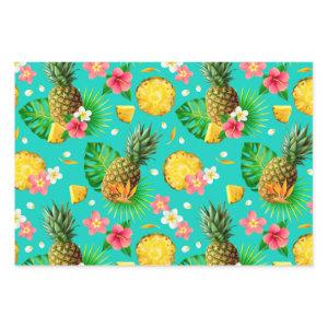 Realistic Summer Tropical Pineapples Teal Pattern Wrapping Paper Sheets