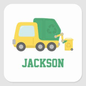 Recycling Garbage Truck Kids Personalized Square Sticker