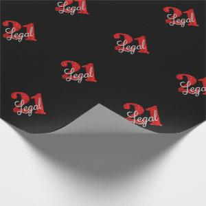 Red 21 and Legal | Modern 21st Birthday Party Wrapping Paper