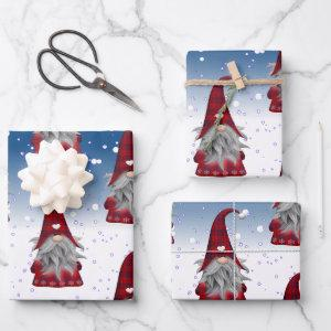 Red And Black Gnome Wrapping Paper Sheets