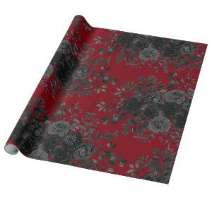 Red and Black Rose Gothic Wedding Wrapping Paper