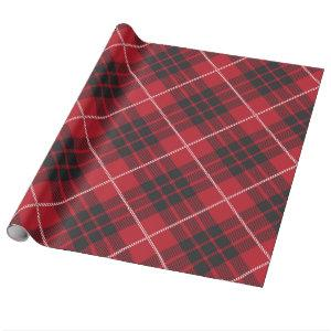 Red and black with white accents plaid pattern wrapping paper