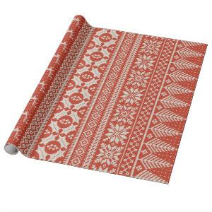 red and cream fair isle knit sweater wrapping paper