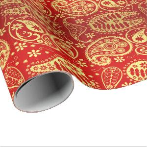 Red and Gold Floral Paisley Pattern Wrapping Paper