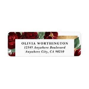 Red and Gold Floral Rustic Elegant White Wedding Label
