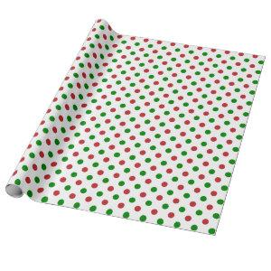 Red and Green Christmas Polka Dot Wrapping Paper