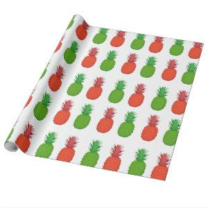 Red and Green Tropical Christmas Pineapples Wrapping Paper