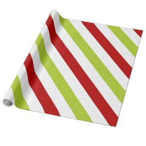 Red and Green Wide Diagonal Stripes Pattern Wrapping Paper