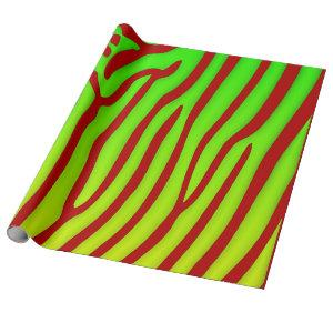 Red and Lime Zebra Stripes Animal Print Wrapping Paper