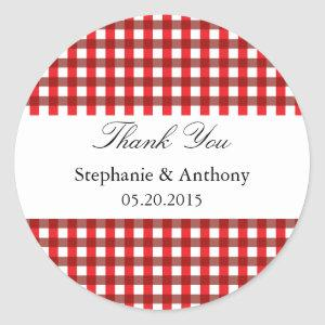 Red and White Gingham Pattern Barbeque Thank You Classic Round Sticker