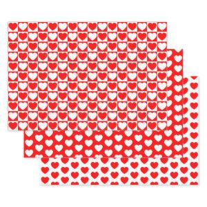 Red and White Hearts Wrapping Paper Sheets