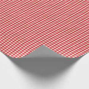 Red and White Houndstooth Pattern Wrapping Paper