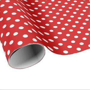 Red and white polka dots Christmas wrapping paper